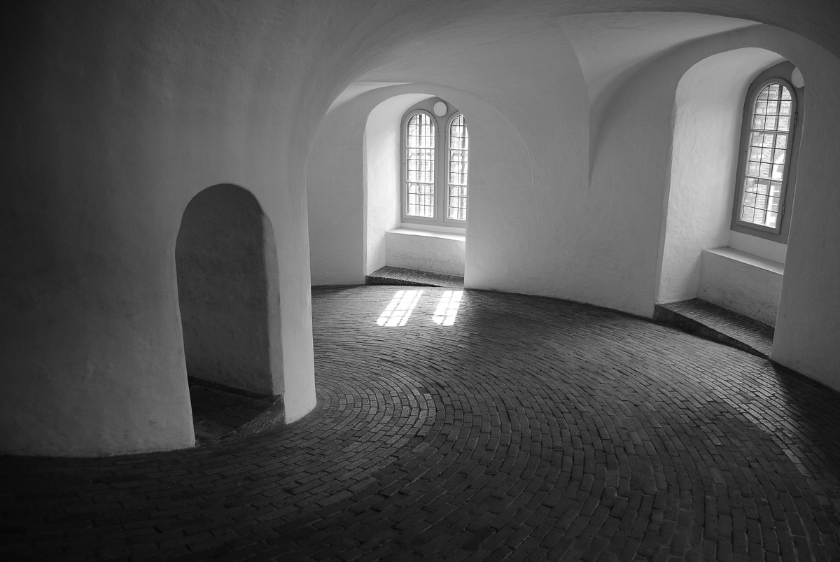 The Round Tower is located at the heart of Copenhagen. It was built in the 17th century as an astronomical observatory, and there still is the observatory floor on top of the tower. The tower features a gentle slope to get up to the roof.